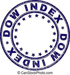 Grunge Textured DOW INDEX Round Stamp Seal - DOW INDEX stamp...