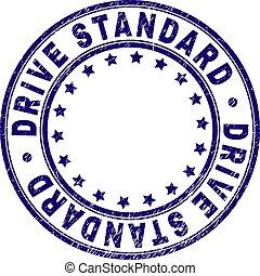 Grunge Textured DRIVE STANDARD Round Stamp Seal - DRIVE...