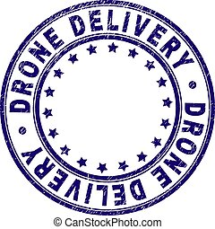 Grunge Textured DRONE DELIVERY Round Stamp Seal
