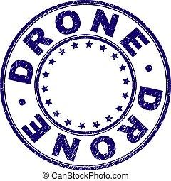 Grunge Textured DRONE Round Stamp Seal