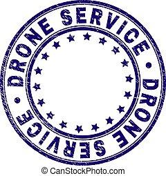 Grunge Textured DRONE SERVICE Round Stamp Seal