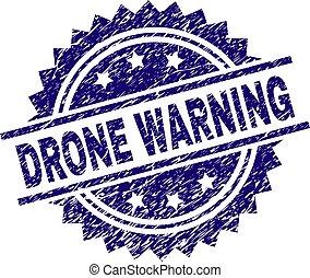 Grunge Textured DRONE WARNING Stamp Seal