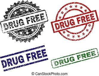 Grunge Textured DRUG FREE Stamp Seals