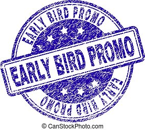 Grunge Textured EARLY BIRD PROMO Stamp Seal