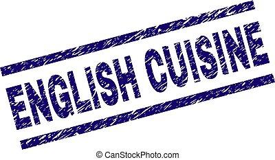 Grunge Textured ENGLISH CUISINE Stamp Seal - ENGLISH CUISINE...