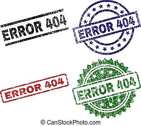 Grunge Textured ERROR 404 Stamp Seals