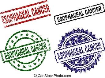 Grunge Textured ESOPHAGEAL CANCER Stamp Seals