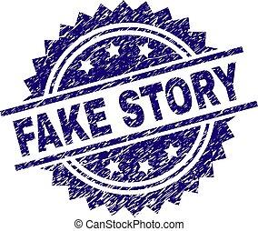 Grunge Textured FAKE STORY Stamp Seal - FAKE STORY stamp...