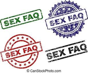 Grunge Textured FAQ Seal Stamps