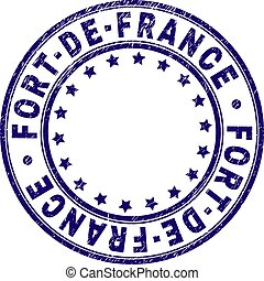 FORT-DE-FRANCE stamp seal imprint with grunge texture. Designed with circles and stars. Blue vector rubber print of FORT-DE-FRANCE label with grunge texture.