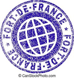 FORT-DE-FRANCE stamp imprint with distress texture. Blue vector rubber seal imprint of FORT-DE-FRANCE text with dust texture. Seal has words placed by circle and globe symbol.