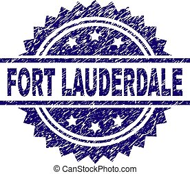 FORT LAUDERDALE stamp seal watermark with distress style. Blue vector rubber print of FORT LAUDERDALE caption with corroded texture.