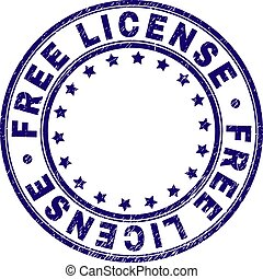 Grunge Textured FREE LICENSE Round Stamp Seal