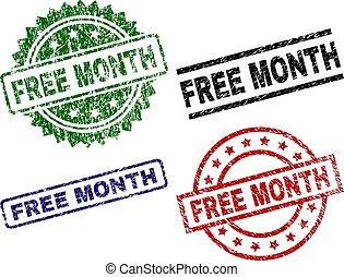 Grunge Textured FREE MONTH Stamp Seals