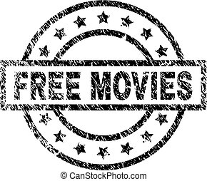 Grunge Textured FREE MOVIES Stamp Seal