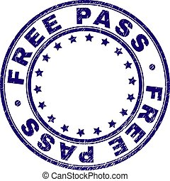 Grunge Textured FREE PASS Round Stamp Seal