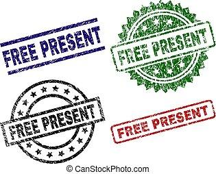 Grunge Textured FREE PRESENT Stamp Seals