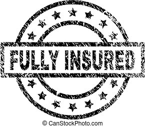 Grunge Textured FULLY INSURED Stamp Seal