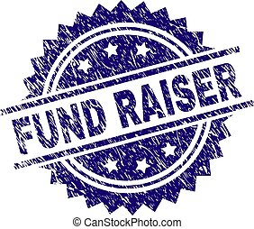 FUND RAISER stamp seal watermark with distress style. Blue vector rubber print of FUND RAISER text with dirty texture.