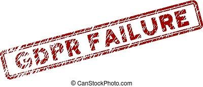Grunge Textured GDPr Failure Rectangle Stamp Seal