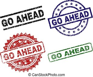 GO AHEAD seal prints with damaged style. Black, green, red, blue vector rubber prints of GO AHEAD label with unclean style. Rubber seals with round, rectangle, rosette shapes.