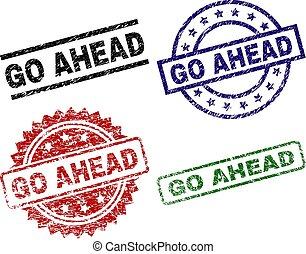 Grunge Textured GO AHEAD Stamp Seals - GO AHEAD seal prints ...