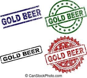 Grunge Textured GOLD BEER Stamp Seals