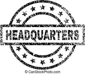 Grunge Textured HEADQUARTERS Stamp Seal - HEADQUARTERS stamp...