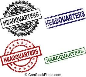 Grunge Textured HEADQUARTERS Stamp Seals - HEADQUARTERS seal...