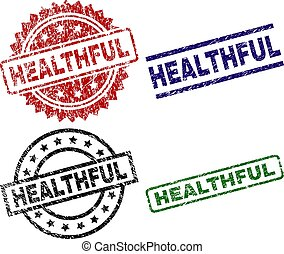 Grunge Textured HEALTHFUL Seal Stamps
