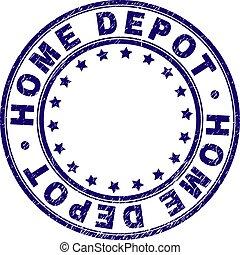 Grunge Textured HOME DEPOT Round Stamp Seal