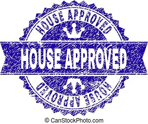 Grunge Textured HOUSE APPROVED Stamp Seal with Ribbon