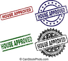 Grunge Textured HOUSE APPROVED Stamp Seals