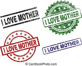 Grunge Textured I LOVE MOTHER Seal Stamps