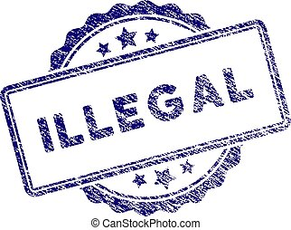 Grunge Textured Illegal Text Stamp Seal
