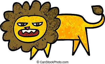 grunge textured illustration cartoon angry lion