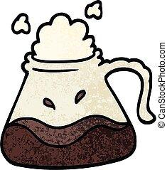 grunge textured illustration cartoon coffee jug