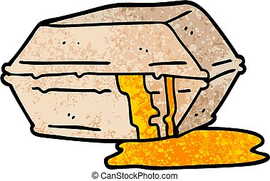 grunge textured illustration cartoon greasy take out food