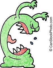 grunge textured illustration cartoon monster