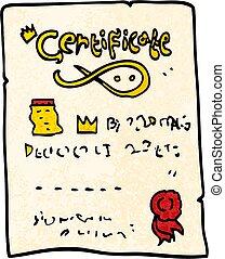 grunge textured illustration cartoon ornate certificate