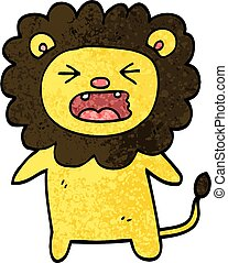 grunge textured illustration cartoon roaring lion