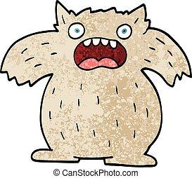 grunge textured illustration cartoon yeti monster