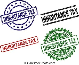 INHERITANCE TAX seal prints with damaged surface. Black, green, red, blue vector rubber prints of INHERITANCE TAX title with unclean surface. Rubber seals with circle, rectangle, medal shapes.