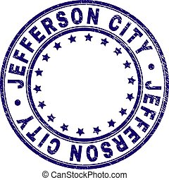 Grunge Textured JEFFERSON CITY Round Stamp Seal - JEFFERSON...