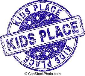 Grunge Textured KIDS PLACE Stamp Seal