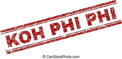 Grunge Textured KOH PHI Stamp Seal - KOH PHI seal stamp with...
