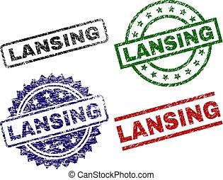 Grunge Textured LANSING Stamp Seals