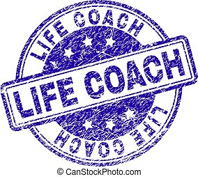 Grunge Textured LIFE COACH Stamp Seal