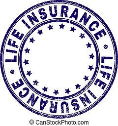 Grunge Textured LIFE INSURANCE Round Stamp Seal