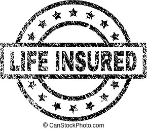 Grunge Textured LIFE INSURED Stamp Seal